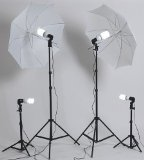 ePhoto M9-LRIY-JQJ9 Dk4 1000-Watt Continuous Fluorescent Lighting Kit with Carry Bag with 2 Each 7-Foot Light Stands, Background Stands (Black)