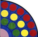 Joy Carpets Kid Essentials Early Childhood Quarter Round Lots of Dots Rug, Multicolored, 6'7""