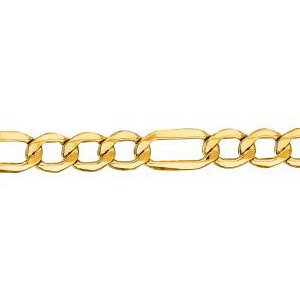 14K Solid Yellow Gold Figaro Lite Chain Necklace 4.6mm thick 18 Inches