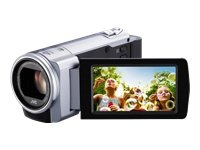 JVC GZ-E10SEU Full-HD Camcorder (6,9 cm (2,7 Zoll) Display, 40-fach opt. Zoom, HDMI, F1.8, USB 2.0) silber