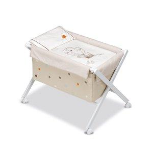 Pirulos globo–Minicuna pieghevole forbici Miele, 68x 90X71cm, colore: bianco e lino