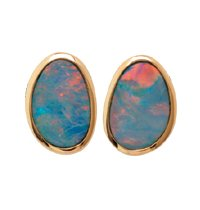 Click to buy Australian Opal Earrings: Opal Doublet Fashion Earrings in 14K Yellow Gold from Amazon!
