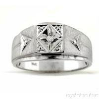 Mens Diamond RING 14K White Gold Pinky Ring