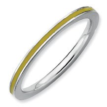 Stunningly Pretty Silver Stackable Yellow Enamel Ring. Sizes 5-10 Available