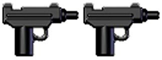 BrickArms-25-Scale-LOOSE-Weapon-Set-of-2-Micro-Uzi-SMG-Black