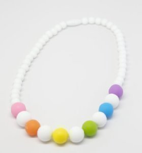 Details for Baby Teething Necklace (Rainbow)-Made With 100% Food Grade Silicone Teething Beads. BPA Free Chewable Jewelry For Teething Babies & Kids. Mom Approved Teether Toy To Soothe Babies Gums. Lifetime Replacement Guarantee! from Mommy's Touch