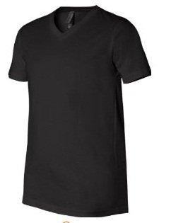 V-Neck Men's Short Sleeve T-Shirt by Canvas (Black S)