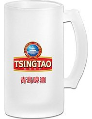 Chinese Tsingtao Beer Logo Frosted Glass Pub Big Beer Stein - 500ML