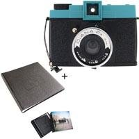 "Lomography Diana F+, Medium Format Camera with Removable Lens for Super Wide Angle Pinhole Shots, 120 Film and Faux-Leather Uno Album for One 5"" x 5"" Image Per Page"
