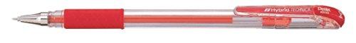 Pentel KN104 Hybrid Technica - Bolígrafo con tinta de gel (punta de aguja, 0,2 mm), color rojo