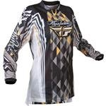 Fly Racing Girls Kinetic Jersey, Black/Gray, Gender: Womens, Size: Lg 365-420L