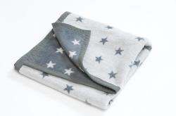 Hippy Chick Grey Stars Toddler Blanket (Cot size : 100 cms x 150 cms)