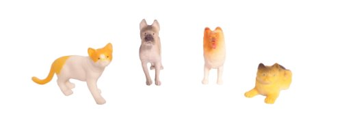 WeGlow International Cats and Dogs Plastic Pets (Set of 3), 4-Piece
