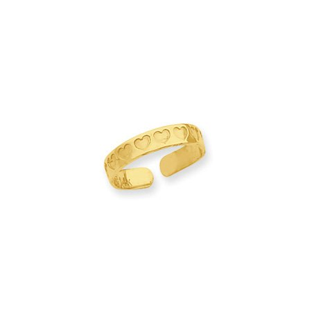 Textured Heart Toe Ring in 14K Yellow Gold