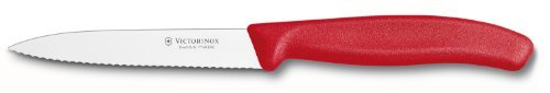 Victorinox Swiss Classic 4-Inch Paring Knife With Spear Tip, Serrated, Red Home & Kitchen