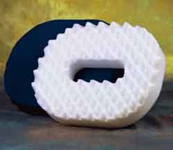 """Foam Donut Cushion - Large 18"""" Convoluted, firm, supportive foam with a hole in center designed to relieve pressure on the tail bone due to injury, or post surgical recovery."""