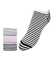 3 Pairs of Cotton Rich Striped Trainer Liner Sports Socks