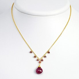 Sterling Silver and Vermeil Ruby Necklace - 16 Inch - Lobster Claw - JewelryWeb