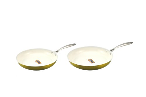 Kevin Dundon SKD810GL Non-Stick Skillet Set, 8-Inch to 10-Inch, Gold