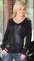 Harley-Davidson Womens Willie G Skull Affliction V-Neck Ultra Light Fleece Black Long Sleeve Sweat