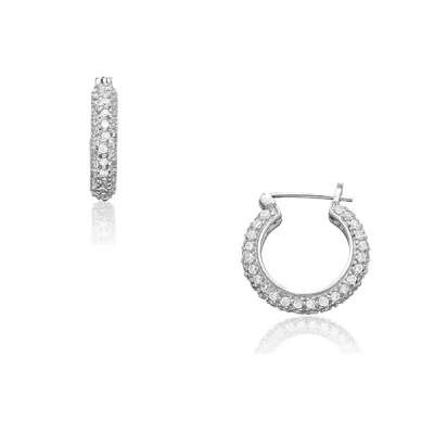Casual Jewelry Hoop Earrings in a Genuine Sterling Silver w/ Small CZ Puffed Hoop Huggie Style(WoW !With Purchase Over $50 Receive A Marcrame Bracelet Free)