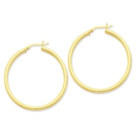 Genuine IceCarats Designer Jewelry Gift Sterling Silver Gold-Flashed 45Mm Grooved Hoop Earrings