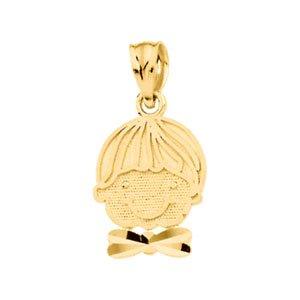 14k Yellow Gold Boys Head Pendant 15.75x10.25mm - JewelryWeb