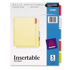 AVE81000 Insertable Dividers, 3-HP, 5 Tab, 8-1/2\