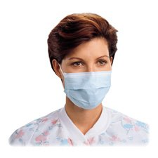 Procedure Mask, Pleat, Earloops, Latex Free, 50/BX, Blue, Sold as 1 Box, 50 Each per Box