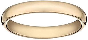 Women's 14k Yellow Gold 3mm Comfort Fit Plain Wedding Band, Size 7.5