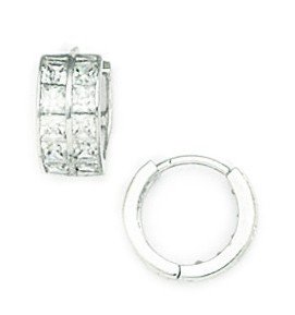 14ct White Gold CZ Small 2 Row Hinged Earrings - Measures 10x11mm