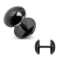 SINGLE 8mm Plain Black Fake Ear Plug Earring - Stainless Steel - Supplied in Gift Bag