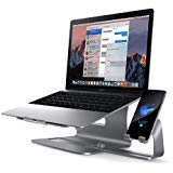 2 in 1 Laptop and Phone Stand - LiMENO Aluminum Cooling Computer Stand: [Update Version] Stand, Holder for Apple MacBook Air, MacBook Pro, All Notebooks, iPhone Series, Grey (Color: 104 Grey, Tamaño: 104 laptop stand with cellphone stand)