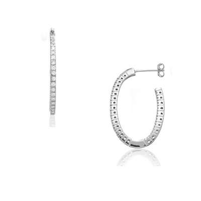 Casual Jewelry Hoop Earrings in a Genuine Sterling Silver with Wavy CZ Open Oval Shaped Design(WoW !With Purchase Over $50 Receive A Marcrame Bracelet Free)