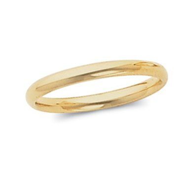18K Yellow Gold, Light Comfort Fit Wedding Band 2MM (sz 4)