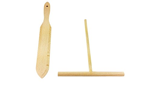 BICB Beechwood Crepe Spreader and Spatula - 2 Piece Set (7.9-inch Spreader and 12.8-inch Spatula)