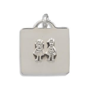 33mm Square Pendant with Boy and Girl