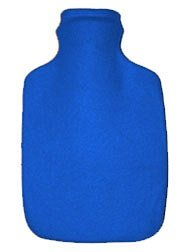 Warm Tradition Classic Fleece Covered Hot Water Bottle- Blue - Made In Germany
