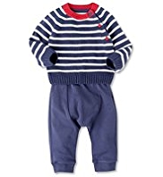 2 Piece Knitted Striped Jumper & Joggers Outfit