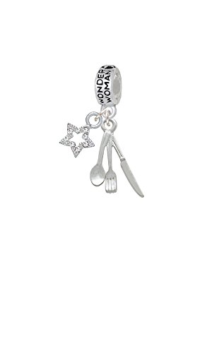 Fork Knife And Spoon Wonder Woman Charm Bead With Crystal Star