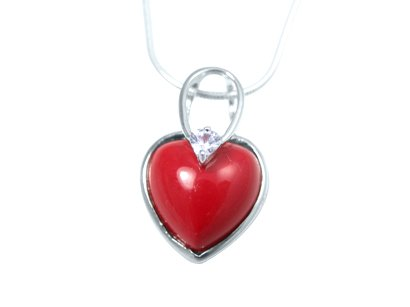 coral pendant heart cz