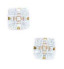 14k Yellow Gold 6x6mm 9 Segment Square CZ Light Prong Set Earrings - JewelryWeb