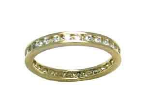 Size 7 1/2 Eternity Channel Cubic Zirconia Band 14k Yellow Gold Ring