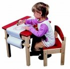 Childrens Wooden Red Art Table & Chair Set ( 300ft Paper Roll Included)