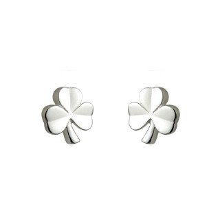 Sterling Silver Celtic Kids Shamrock Stud Earrings-Made in Ireland
