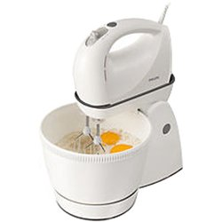 Philips HR1565/50 Hand Mixer (White) Stainless steel beaters, Dough hooks, 3 L Rotating bowl