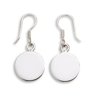 CleverSilver's 12mm Round Engravable Tag Earrings On French Wire
