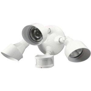 Heath Zenith SL-5798-WH-A 270-Degree Triple Head Halogen Motion Sensing Security Light, White