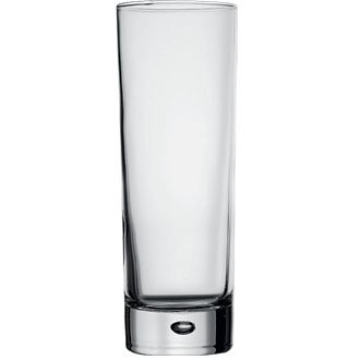 Winware 6 X 290ml Centra Tall Narrow High-Ball Glasses - CE Stamped (Modern, stylish blown glassware with bubble feature in base. Dishwasher safe)