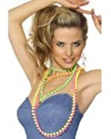 80's Fancy Dress Neon Party Bead Necklaces Pk 4 (struts-9142)